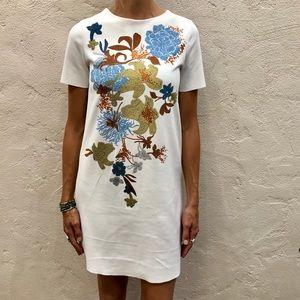 Zara floral shimmer white shift dress small